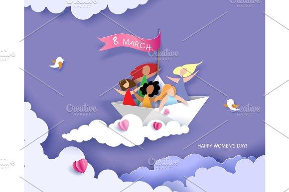 Happy women flying on paper boat