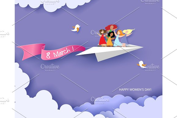 Happy women flying on paper airplane
