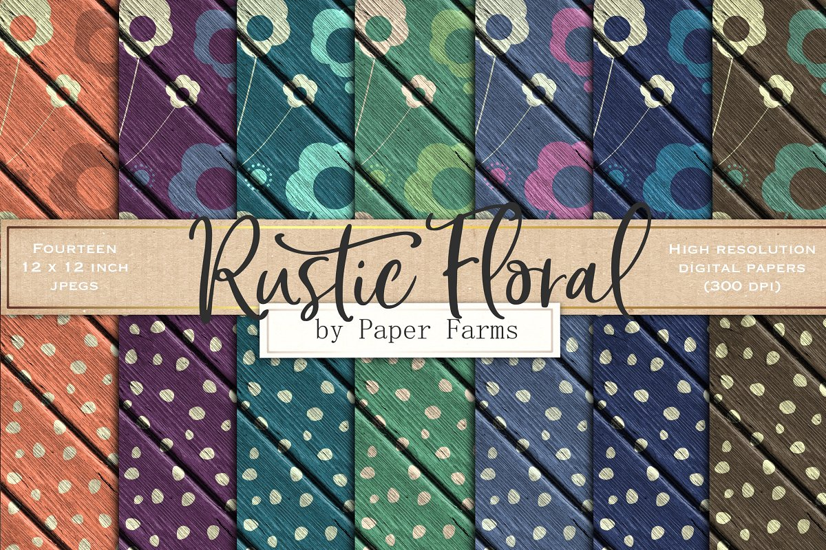 Rustic Floral Backgrounds Custom Designed Graphic Patterns