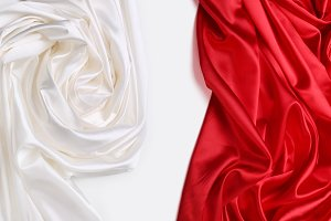 red and white silk fabric background