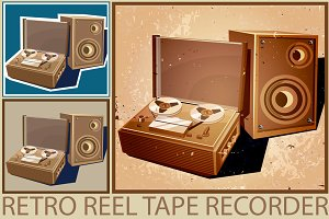Retro Reel Tape Recorder Set