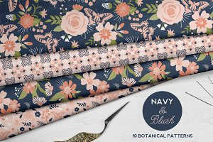 Navy and Blush Floral Patterns