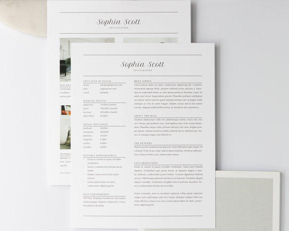 sophia media kit resume resume templates creative market