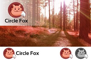 Cute Fox In Circle Logo Emblem