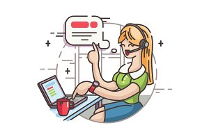 Girl operator in call center