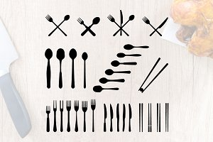 Spoon Fork Knife Cutlery Silhouette