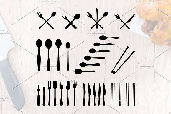 Spoon Fork Knife Cutlery Silhouette