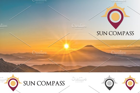 Sunrise Compass Map Location Logo