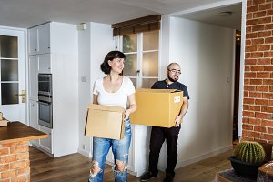 Couple moving into new house