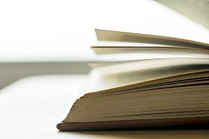 Closeup of an open book educational