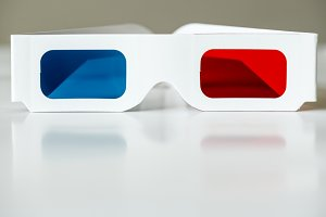 Closeup of 3D glasses movies