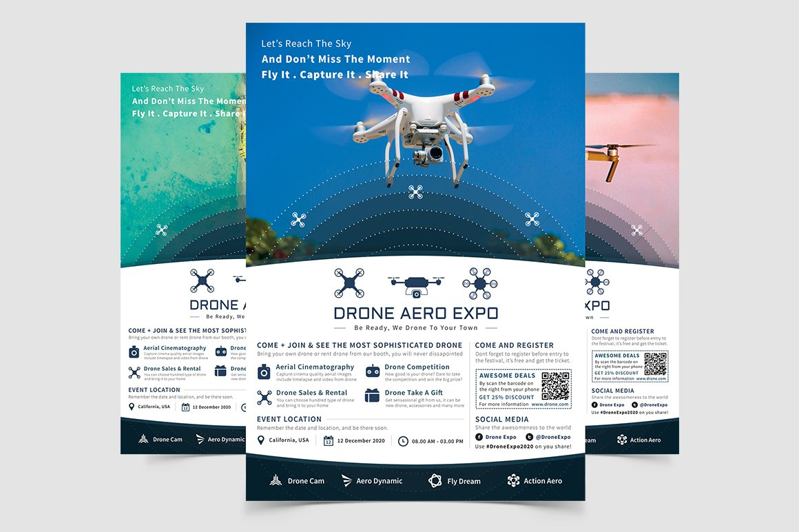 drone aero expo flyer flyer templates creative market
