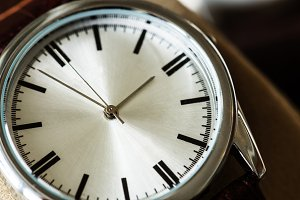 Closeup macro shot of a watch