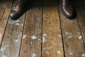 Leather shoes on wooden floor