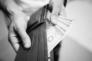 A doller bill in a wallet