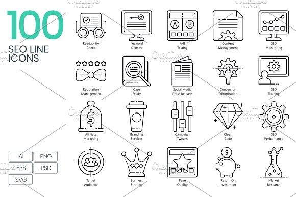 100 SEO Web Line Icons