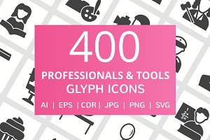 400 Professionals & Tools Glyph Icon