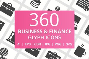 360 Business & Finance Glyph Icons