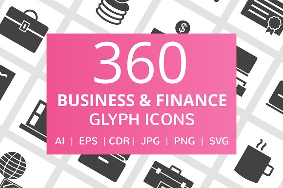 360 Business Finance Glyph Icons