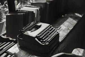 Closeup of retro typewriter