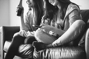 Women enjoy beer together