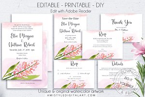 Floral Wedding Invitation Suite PDF