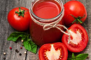 Jar with tomato juice