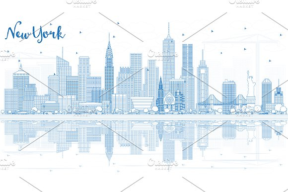 Outline New York USA City Skyline