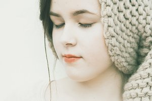 Teenager girl wearing a knit hat