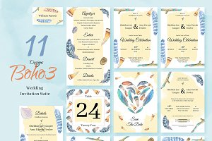 Boho3. Wedding Invitation Package