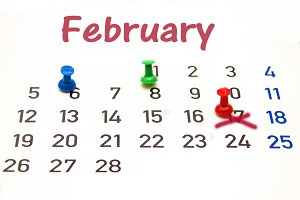 calendar of the month of February