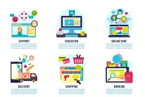 Internet Service Flat Infographics