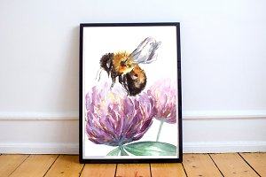 Watercolor Bumblebee Clipart+Print
