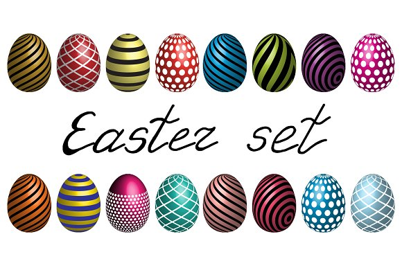 Easter eggs vector set icons