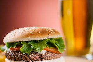 Fresh Hamburger With Beer