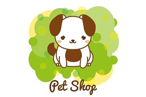 Pet shop banner with cute dog