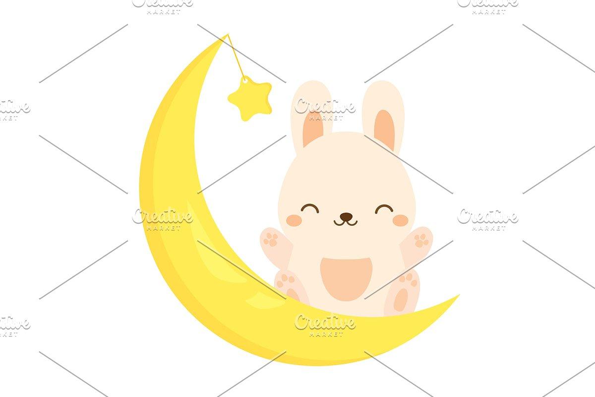 Cute moon bunny  Kawaii rabbit