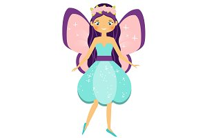Winged fairy in flower dress