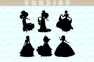 DisneyPrincess silhouette SVG