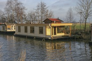 Houseboat on a river