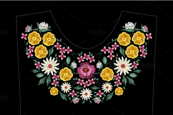 Embroidery Design With Flowers