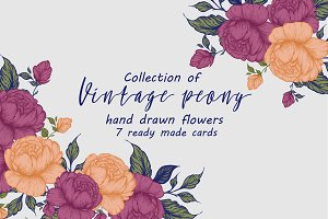 Vintage Peony clipart,cards,patterns