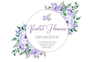 Violet Flowers watercolor set
