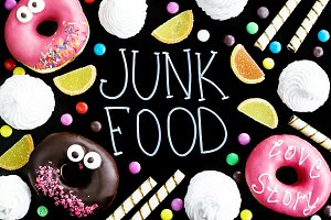 Junk food on a pink background