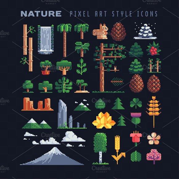 Nature pixel art icons set.