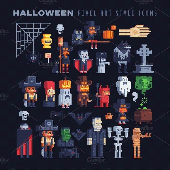 Halloween Pixel Characters Set