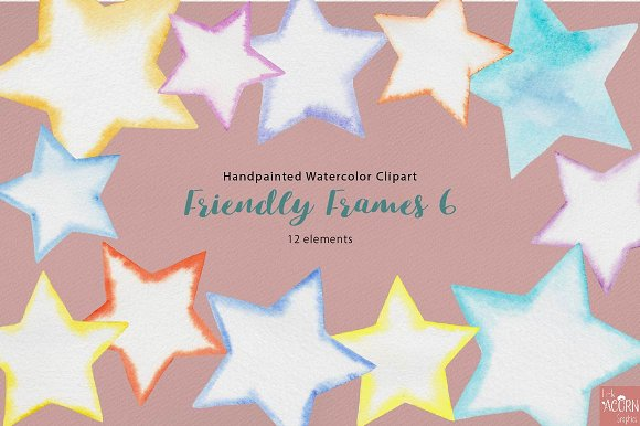 Watercolor Friendly Frames 6 in Objects - product preview 1