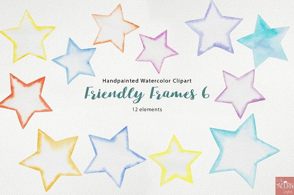 Watercolor Friendly Frames 6 in Objects - product preview 2