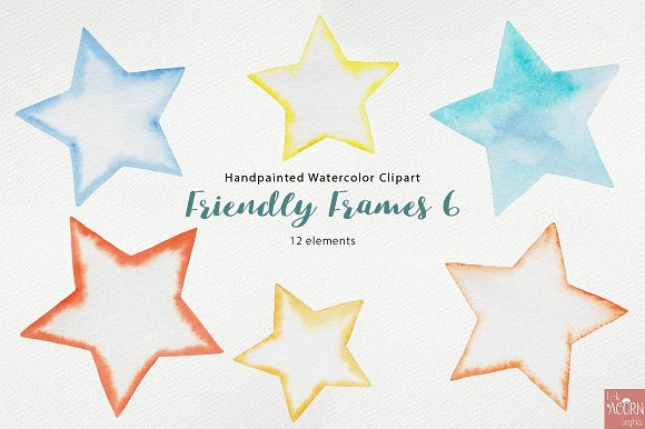 Watercolor Friendly Frames 6 in Objects - product preview 3