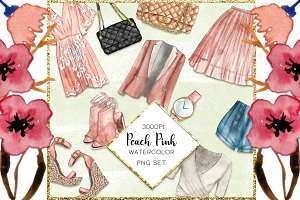 Watercolor Fashion Set Peach Pink